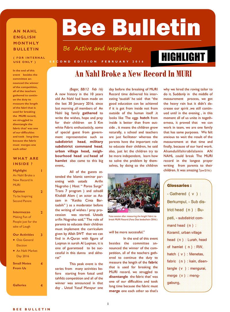 Bulletin Edisi Februari 2016